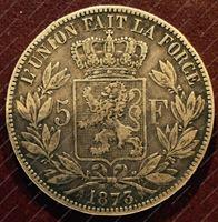 Изображение Бельгия 1873г. KM# 24 / 5 франков / XF / Серебро