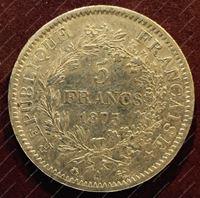 Изображение Франция 1873г. A KM# 820.1 / 5 франков / AU / Серебро