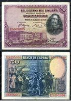 Изображение Испания 1928г. P# 75b / 50 песет / XF-AU