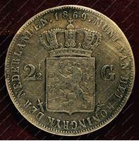 Изображение Нидерланды 1869г. KM# 82 / 2,5 гульдена / VF / Серебро