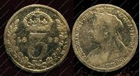 Изображение Англия 1893г. KM# 777 / 3 пенса / VF / Серебро
