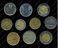 Изображение 10 разных иностранных монет / VF-AU / лот № 8