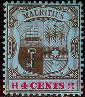 Изображение Маврикий 1904-1907 гг. Gb# 167a • Герб колонии / 4с (мелованная бумага) • MLH OG VF ( кат.- £16 )
