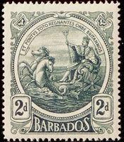 Изображение Барбадос 1916-1919 гг. Gb# 184 • Герб колонии / 2d • MLH OG VF ( кат.- £12 )