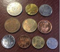 Изображение 10 разных монет мира в блеске / UNC-MS BU / лот № 2