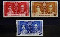 Bild von Барбадос 1937 г. Gb# 245-247 • Коронация • MNH OG VF • полн. серия ( кат.- £1,9 )