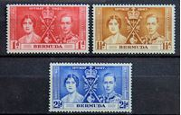 Bild von Бермуды 1937 г. Gb# 107-109 • Коронация • MLH OG VF+ • полн. серия ( кат.- £2 )