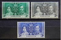 Bild von Гибралтар 1937 г. Gb# 118-120 • Коронация • MLH OG VF • полн. серия ( кат.- £5,25 )