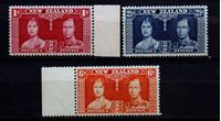 Bild von Новая Зеландия 1937 г. Gb# 599-601 • Коронация • MNH OG XF+ • полн. серия ( кат.- £2 )