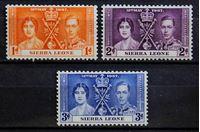 Bild von Сьерра-Леоне 1937 г. Gb# 185-187 • Коронация • MLH OG • полн. серия ( кат.- £3,25 )