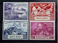 Изображение Гонконг 1949 г. Gb# 173-176 • 75 лет Всемирному почтовому союзу / Омнибус • MLH OG XF • полн. серия ( кат.- £65 )