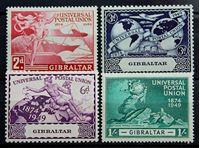 Изображение Гибралтар 1949 г. Gb# 136-139 • 75 лет Всемирному почтовому союзу / Омнибус • MLH OG XF • полн. серия ( кат.- £4,75 )