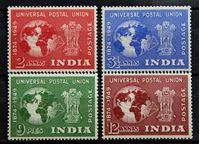 Изображение Индия 1949 г. Gb# 325-328 • 75 лет Всемирному почтовому союзу / Омнибус • MLH OG XF • полн. серия ( кат.- £20 )