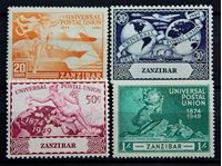 Bild von Занзибар 1949 г. Gb# 335-338 • 75 лет Всемирному почтовому союзу / Омнибус • MLH OG VF+ • полн. серия ( кат.- £3,5 )