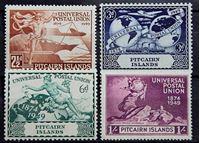 Изображение Питкэрн о-ва 1949 г. Gb# 13-16 • 75 лет Всемирному почтовому союзу / Омнибус • MLH OG XF • полн. серия ( кат.- £16 )