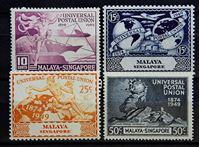 Изображение Сингапур 1949 г. Gb# 33-36 • 75 лет Всемирному почтовому союзу / Омнибус • MLH OG XF • полн. серия ( кат.- £17 )