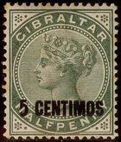 Изображение Гибралтар 1889 г. Gb# 15 • Королева Виктория / 5с (испанская валюта) • MH OG VF ( кат.- £9 )