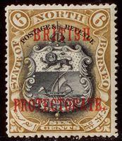 Bild von Северное Борнео 1901-1905 гг. Gb# 132 • Надпечатка BRITISH PROTECTORATE / 6с • MLH OG VF ( кат.- £55 )