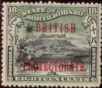 Bild von Северное Борнео 1901-1905 гг. Gb# 137 • Надпечатка BRITISH PROTECTORATE / 18с • MLH OG VF ( кат.- £17 )