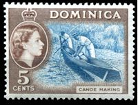 Image de Доминика 1954-62 гг.  Gb# 147  • 5c. производство каноэ •   XF ( кат.- £14 )