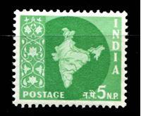 Image de Индия 1957-58 гг.  Gb# 378  • 5 n.p. Стандарт. Карта страны. •  MNH OG XF