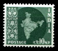 Image de Индия 1957-58 гг.  Gb# 380  • 10 n.p. Стандарт. Карта страны. •  MNH OG XF