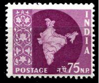 Image de Индия 1957-58 гг.  Gb# 385  • 75 n.p. Стандарт. Карта страны. •  MNH OG XF