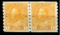 Image de Канада 1922-31 гг.  Gb# 256  • 1 c. Георг V - Адмирал •  MLH OG XF / пара ( кат.- £10 )