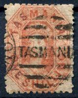 Изображение Австралия • Тасмания 1864 г. Gb# 68 • 1s. Королева Виктория • Used VF ( кат.- £45 )