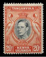 Image de Кения, Уганда и Танганьика 1938-54 гг. Gb# 139a • 20c. Георг VI. Королевские цапли • MNH OG VF ( кат.- £55 )