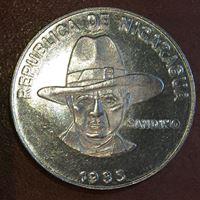 Picture of Никарагуа 1985 г. • KM# 43a • 1 кордова • Сандино. RARE! • MS BU ( кат.- $35,00 )