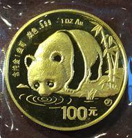 Bild von Китай 1987 г. • 100 юаней • Панда. золото 999 - 1 тр. унция • MS BU люкс! • пруф