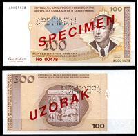 Bild von Босния и Герцеговина 1998 г. P# 69s • 100 конвертируемых марок. Образец • UNC пресс