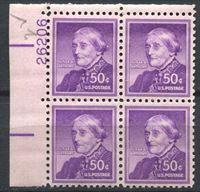 Bild von США 1954-68 гг.  SC# 1051  • 50 c. Сьюзан Энтони •  MNH OG XF+ / № кв. блок
