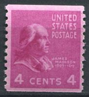 Picture of США 1939г. SC# 843  • 4 c. Джеймс Мэдисон •  MNH OG XF+ ( кат.- $8 )