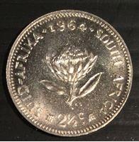 Picture of Южная Африка 1964 г. • KM# 58 • 2 1/2 пенса • (серебро) • регулярный выпуск • MS BU люкс!