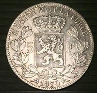 Изображение Бельгия 1870 г. • KM# 24 • 5 франков • Леопольд II (серебро) • XF+