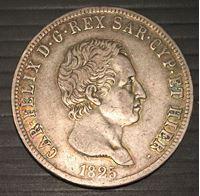Изображение Сардиния 1825 г. • KM# 105.2 • 5 лир • Карл Феликс. тираж - 17 тыс. • регулярный выпуск • XF