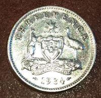 Изображение Австралия 1934 г. • KM# 24 • 3 пенса • Георг V • XF+ ( кат.- $50,00 )
