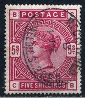 Изображение Великобритания 1883 - 1884 гг. • Gb# 180 • 5 sh. Королева Виктория • Used XF ( кат.- £250 )