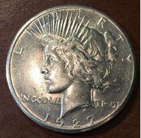 """Изображение США 1927 г. KM# 150 • 1 доллар • """"мир"""" (серебро) • регулярный выпуск • AU"""