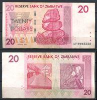 Image de Зимбабве  2007г.  P# 68 • 20 долларов •  XF