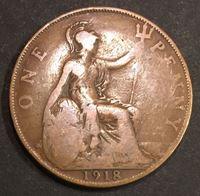 Изображение Великобритания 1918г.  KM# 810 • 1 пенни •  F