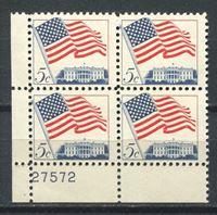 Изображение США 1963-66 гг. SC# 1208 • 5c. национальный флаг • MNH OG XF+ • № кв. блок