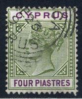 Bild von Кипр 1894-96 гг.  Gb# 44  • 4pi. Королева Виктория •  Used VF ( кат.- £12 )