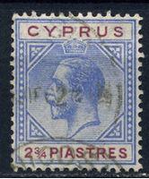 Image de Кипр 1921-23 гг.  Gb# 94  • 2 3/4pi. Король Георг V •  Used VF ( кат.- £10 )