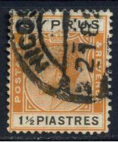 Изображение Кипр 1924-28 гг.  Gb# 107  • 1 1/2pi. Король Георг V •  Used VF ( кат.- £15 )