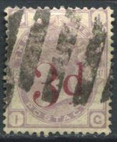 Изображение Великобритания 1880-83 гг. Gb# 159 • 3d. на 3d. надпечатка • Used VF ( кат.- £185 )