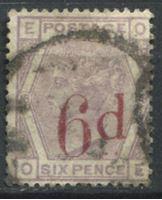 Изображение Великобритания 1880-83 гг. Gb# 162 • 6d. на 6d. надпечатка • Used VF ( кат.- £185 )
