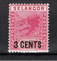 Изображение Малайя • Селангор 1894 г. Gb# 53 • Тигр / Надпечатка 3 сента • MNH OG VF+ ( кат.- £6 )